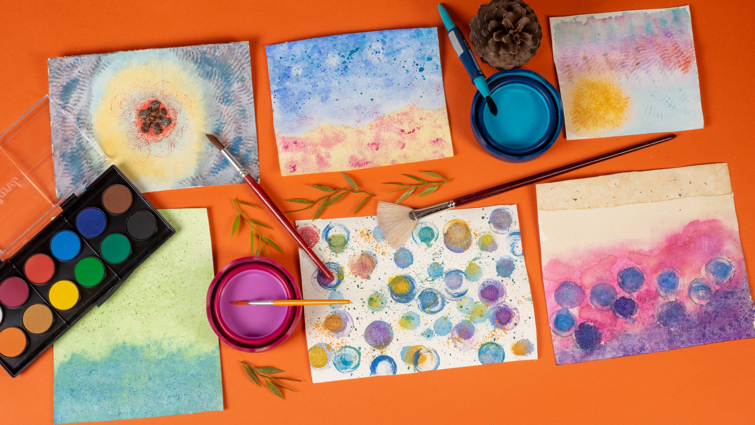 Experiment with Colors: Watercolor <br> DIY Workshop with Video slide 2