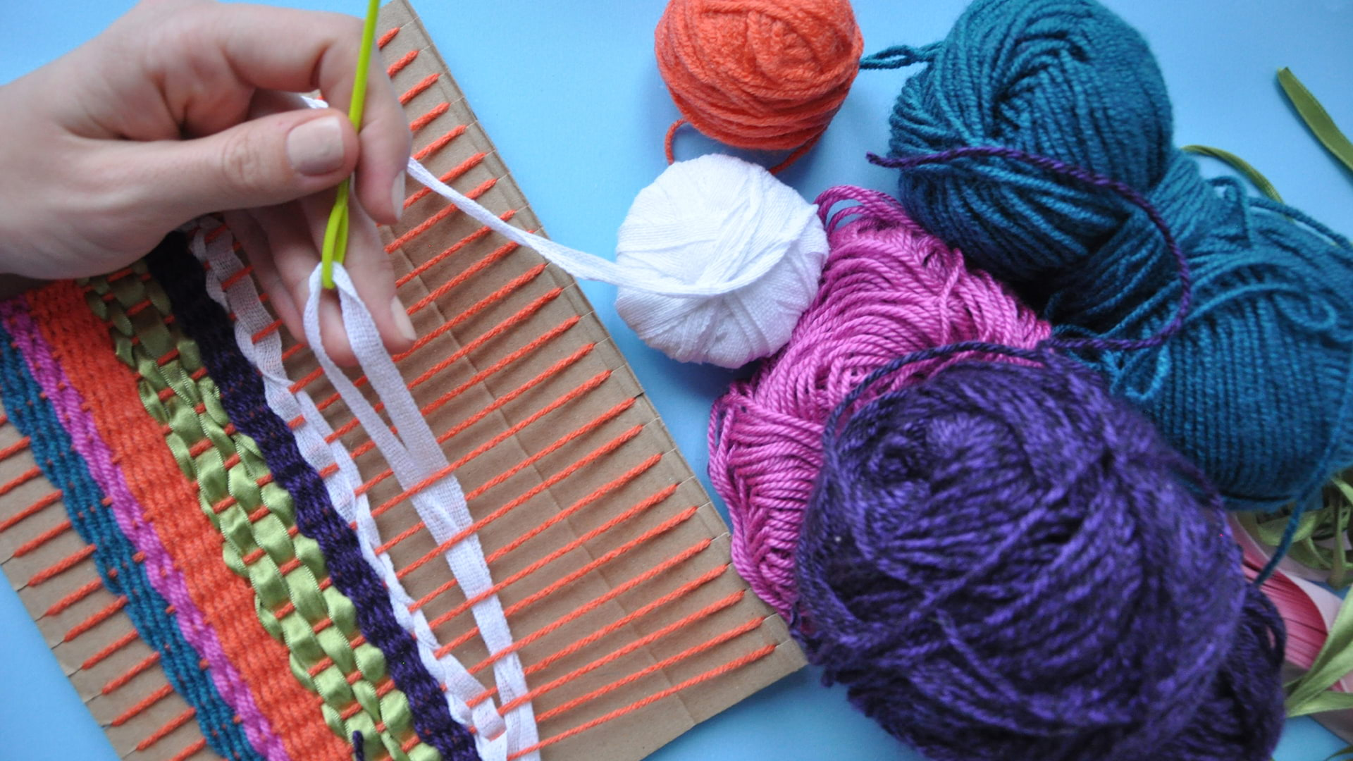 Weaving with Colorful Fabric